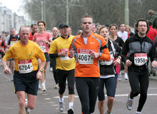 Group of marathon runners CPC2009. Closeup of a Group of marathon runners at the City Pier City Loop 2009, half marathon in the Hague royalty free stock image