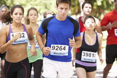 Group Of Marathon Runners At Start Of Race Royalty Free Stock Photography