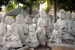Group of Marble Buddha was carved Placed outside. Royalty Free Stock Photos