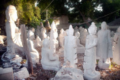 Group of Marble Buddha was carved Placed outside. Royalty Free Stock Photo