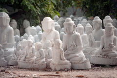 Group of Marble Buddha was carved Placed outside. Stock Photography