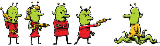 Group of Martians. A group of Martians confront one who is not like their group Vector Illustration