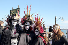 Group of masked people at Carnival of Venice Stock Image