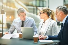 Mature businesspeople having a meeting together in an office royalty free stock photo