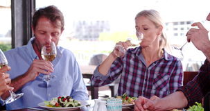 Group Of Mature Friends Enjoying Meal In Restaurant Together stock video footage