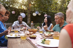 Group Of Mature Friends Enjoying Outdoor Meal In Backyard Stock Photography