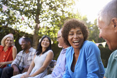 Group Of Mature Friends Socializing In Backyard Together Stock Image