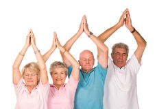 Group of mature people doing yoga. Group of older mature people doing yoga exercises, isolated on white background royalty free stock images