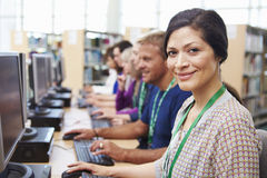 Group Of Mature Students Working At Computers Royalty Free Stock Photography
