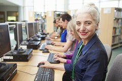 Group Of Mature Students Working At Computers Royalty Free Stock Image