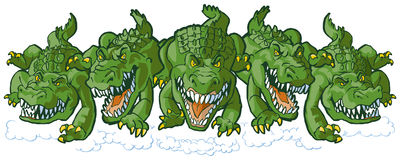 Group of Mean Alligator Cartoon Mascots Charging Forward. Vector cartoon clip art illustration of a group of tough mean alligator mascots charging or running stock illustration