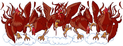 Group of Mean Rooster Cartoon Mascots Charging Forward Royalty Free Stock Photography