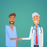 Group Medial Doctors Hand Shake Team Clinics Hospital. Flat Vector Illustration Stock Photo