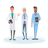 Group Medial Doctors Man Team Clinics Hospital. Flat Vector Illustration Royalty Free Stock Image