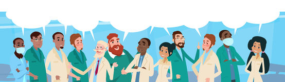 Group Medial Doctors Team Hospital Stuff With Chat Box. Vector Illustration Royalty Free Stock Image
