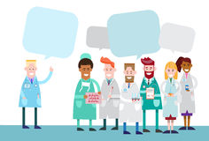Group Medial Doctors Team Work With Copy Space Chat Bubble Royalty Free Stock Photography