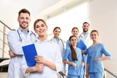 Group of medical doctors at clinic stock photo