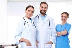 Group of medical doctors at clinic stock image