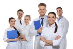 Group of medical doctors isolated. Unity concept stock photos