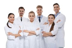 Group of medical doctors isolated. Unity concept royalty free stock photos