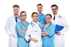 Group of medical doctors isolated. Unity concept stock image
