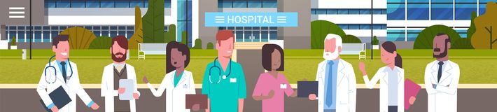 Group Of Medical Doctors Standing In Front Of Hospital Building Exterior Horizontal Banner. Flat Vector Illustration royalty free illustration