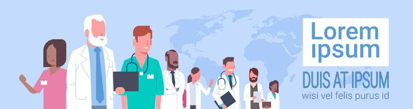 Group Of Medical Doctors Standing Over World Map Treatment Social Network Concept Stock Photography