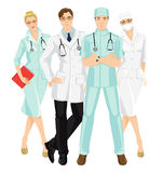 Group of medical people. Isolated on white background. A young doctor in medical gown and hat isolated on white background. Serious man and woman in glasses Stock Photography