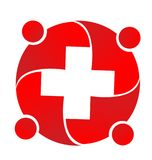 Red medical professionals meeting together icon logo. Group of medical professionals meeting together icon logo. Medical business teamwork Stock Images