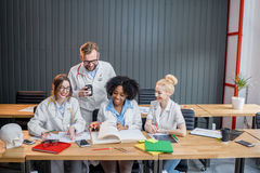 Group of medical students in the classroom Royalty Free Stock Photos