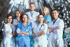 Group of medical students in college stock photos