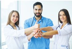 Group of medical workers portrait in hospital.  royalty free stock image