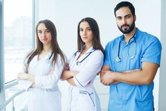 Group of medical workers portrait in hospital.  stock photo