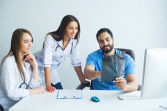 Group of medical workers portrait in hospital.  stock image