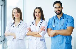 Group of medical workers portrait in hospital.  royalty free stock images