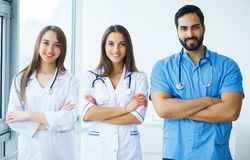 Group of medical workers portrait in hospital.  stock photos