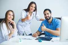 Group of medical workers portrait in hospital.  stock photography