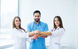 Group of medical workers portrait in hospital.  stock images