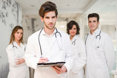 Group of medical workers portrait in hospital Stock Photo