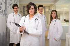 Group of medical workers portrait in hospital stock images