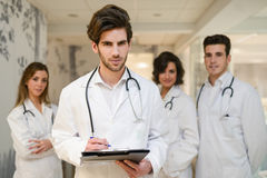 Group of medical workers portrait in hospital stock photos