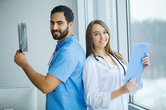 Group of medical workers working together in hospital.  stock image