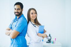 Group of medical workers working together in hospital.  stock images