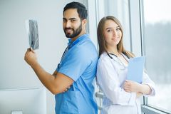 Group of medical workers working together in hospital.  stock photos