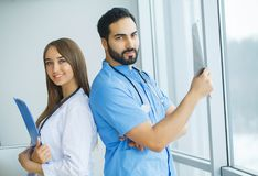 Group of medical workers working together in hospital.  stock photography