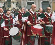 Group of medieval drummers Royalty Free Stock Photos