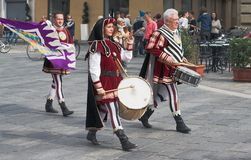 Group of medieval drummers Stock Photography