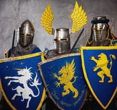 Group of medieval knights in full armor Royalty Free Stock Image