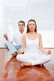 Group in meditating course Royalty Free Stock Photo