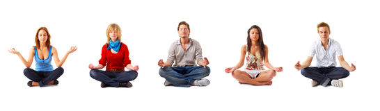 Group of meditating people Royalty Free Stock Images